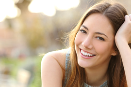 Girl smiling with white smile